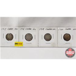 Canada Ten Cent - Strip of 4: 1917; 1918; 1919; 1920