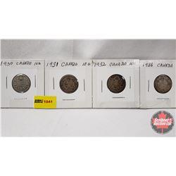 Canada Ten Cent - Strip of 4: 1930; 1931; 1932; 1936