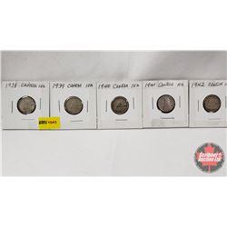 Canada Ten Cent - Strip of 5: 1938; 1939; 1940; 1941; 1942