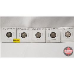 Canada Ten Cent - Strip of 5: 1943; 1944; 1945; 1946; 1947