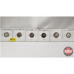 Canada Ten Cent - Strip of 6: 1947ML; 1948; 1949; 1950; 1951; 1952