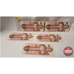 Canada $2 Bill (5 Sequential) 1986 Thiessen/Crow S/N#EGG2737696-697-698-699-700