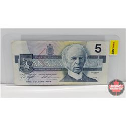"Canada $5 Bill 1986 Knight/Thiessen S/N#ANH8668668 ""Radar"""