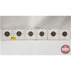 US Five Cent - Strip of 6: 1930S; 1934D; 1935; 1935S; 1936; 1937D