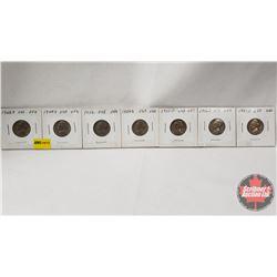 US Five Cent - Strip of 7: 1948D; 1949S; 1952; 1954S; 1955D; 1956D; 1957D