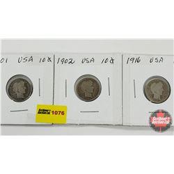 US Ten Cent - Strip of 3: 1901; 1902; 1916