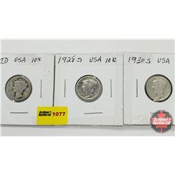 US Ten Cent - Strip of 3: 1917D; 1928S; 1930S