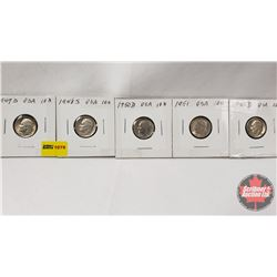 US Ten Cent - Strip of 5: 1947D; 1948S; 1950D; 1951; 1952D