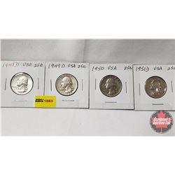 US Twenty Five Cent - Strip of 4: 1948D; 1949D; 1950; 1951D
