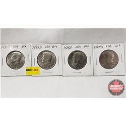 US Fifty Cent - Strip of 4: 1981D; 1982D; 1983D; 1984D