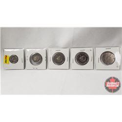 Foreign - Strip of 5 (Republica De Cuba): 10¢ 2008; 25¢ 1998; 1$ 1998; 1$ 1998; 1$ 1998