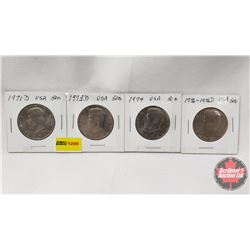 US Fifty Cent - Strip of 4: 1971D; 1973D; 1974; 1776-1976D