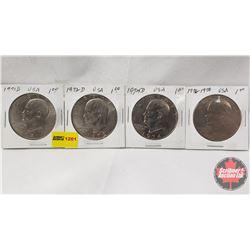 US One Dollar - Strip of 4: 1971D; 1972D; 1974D; 1776-1976