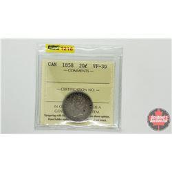 Canada Twenty Cent 1858 (ICCS Cert VF-30)