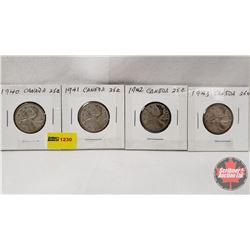 Canada Twenty Five Cent - Strip of 4: 1940; 1941; 1942; 1943