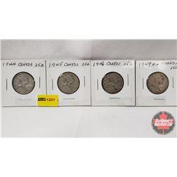 Canada Twenty Five Cent - Strip of 4: 1944; 1945; 1946; 1947ML