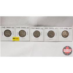 Canada Twenty Five Cent - Strip of 5: 1948; 1949; 1950; 1951; 1952