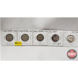 Canada Twenty Five Cent - Strip of 5: 1958; 1959; 1960; 1961; 1962