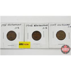 Newfoundland One Cent - Strip of 3: 1938; 1942; 1947