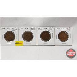 Great Britain Half Penny - Strip of 4: 1908; 1911; 1937; 1964