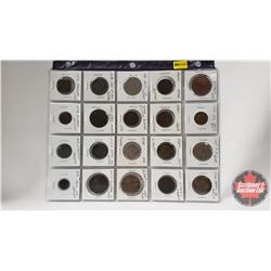 Foreign Coins - Variety Countries/Years - Sheet of 20: Includes Australia, Great Britain, Fiji, Fran