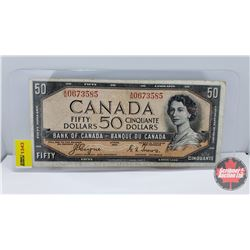 Canada $50 Bill 1954DF Coyne/Towers S/N#AH0673585