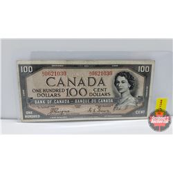Canada $100 Bill 1954DF Coyne/Towers S/N#AJ0621030