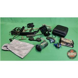 Tray Lot: Bullet Case, Mini Digital Game Call, Car Window Scope/Camera Mount, Shotgun Cleaner, Trigg
