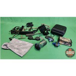 Tray Lot: Bullet Case, Mini Digital Game Call, Car Window Scope/Camera Mount, Shotgun Cleaner, Trigg