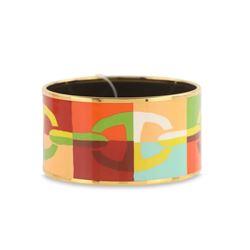 Hermes Multicolor Chaine Ancre Enamel Wide Bangle Bracelet