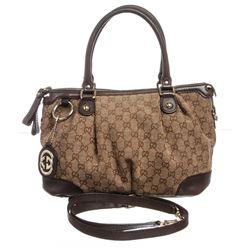 Gucci Brown Beige GG Canvas Leather Shoulder Bag Tote