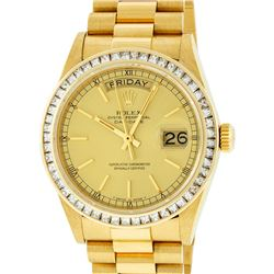 Rolex Mens 18K Yellow Gold 2.75 ctw Channel Set Diamond Day Date President Wrist