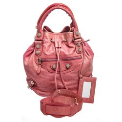 Balenciaga Pink Anthracite Leather Giant 21 PomPom Bag