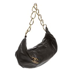 Chanel Black Lambskin Leather Ring Hobo Bag