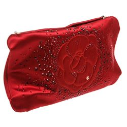 Chanel Red Satin Embellished Camellia Clutch Shoulder Bag