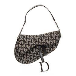 Christian Dior Gray Black Diorissimo Canvas Leather Saddle Bag