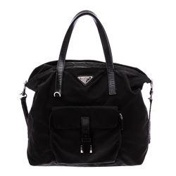 Prada Black Nylon Leather Tote Shoulder Bag