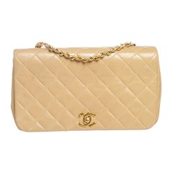 Chanel Beige Quilted Lambskin Leather Classic Flap Handbag Bag