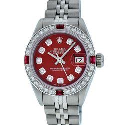 Rolex Ladies Stainless Steel Red Diamond & Ruby 26MM Datejust Wristwatch