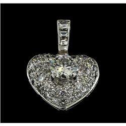 1.71 ctw Diamond Heart Pendant - 18KT White Gold