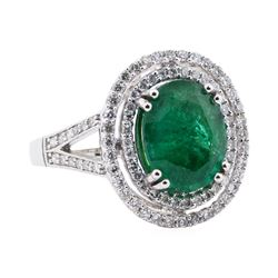 3.65 ctw Emerald and Diamond Ring - 14KT White Gold