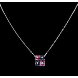 2.00 ctw Multi Color Sapphire and Diamond Necklace - 14KT White Gold