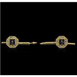 0.58 ctw Blue Sapphire and Diamond Shirt Studs - 14KT Yellow Gold