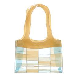 Chanel Beige Blue Clear Vinyl Patchwork Shoulder Bag