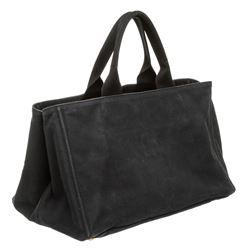 Prada Dark Blue Canvas Large Canapa Tote Bag