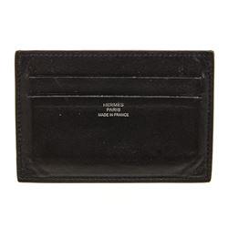 Hermes Black Leather Citizen Twill Card Holder
