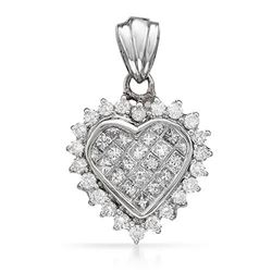 14k White Gold 1.03CTW Diamond Pendant, (SI1-SI2/G-H)