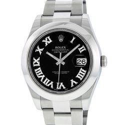 Rolex Mens SS 41MM Black Roman Diamond Datejust 2 Oyster Band Wristwatch With Bo