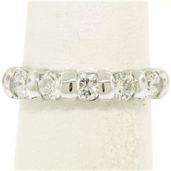 NEW 14k White Gold FINE .80 ctw Bar Set Round Brilliant Diamond Wedding Band Rin