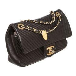 Chanel Black Chevron Calfskin Leather Mini Rectangular Flap Bag
